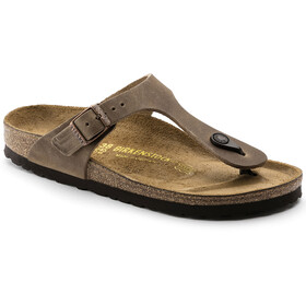 Birkenstock Gizeh Thong Sandals Oiled Leather Narrow, bruin